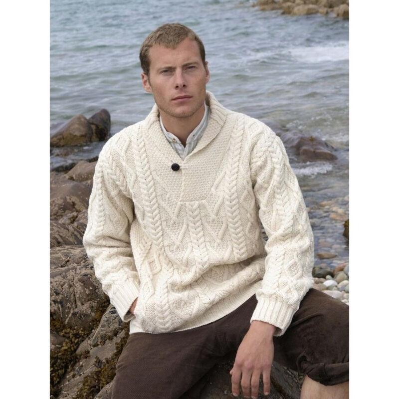 100% Merino Wool Aran Shawl Collar Aran Sweater, Natural Colour