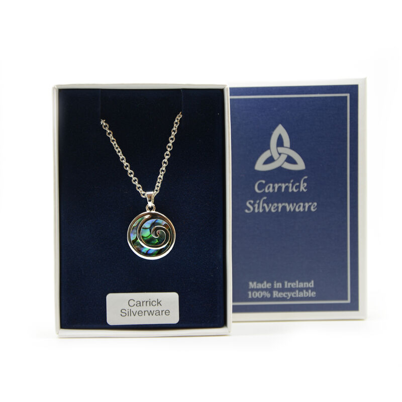 Silver Plated Carrick Silverware Green Spiral Pendant