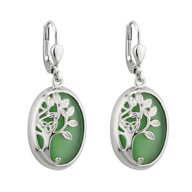 Rhodium Plated Tree Of Life Drop Earrings With Green Rhodium Crystal