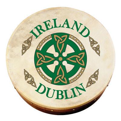 """8 Bodhran mit der Aufschrift """"Dublin"""" und keltischem Kreuz  inklusive Schlägel"""