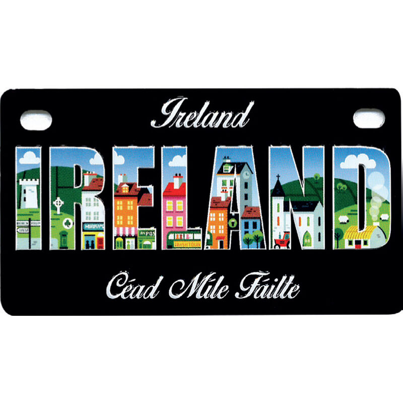 Black Reg Plate Magnet With Ireland Photograph Print And Cead Mile Failte Text