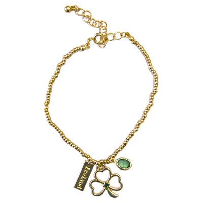 Ireland Celtic Charm Bracelet Rose Gold Colour With Shamrock Design