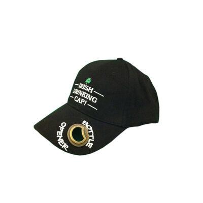 Black Baseball Cap w/ Irish Drinking Cap Lettering And Metal Bottle Opener