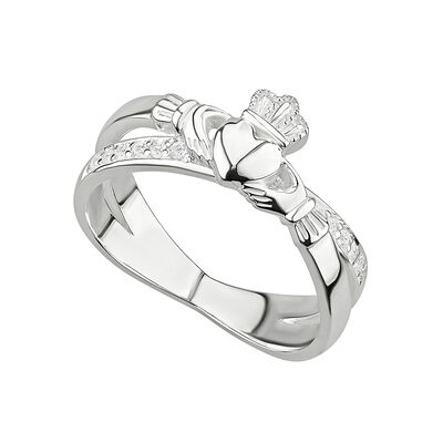 Ladies Hallmarked Sterling Silver Claddagh Cross Ring With Clear Crystals