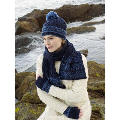 100% Merino Wool Fairisle Hat, Scarf & Mittens Set, Midnight Colour