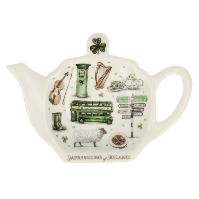 Impressions Of Ireland White And Green Teabag Holder With Irish Motifs