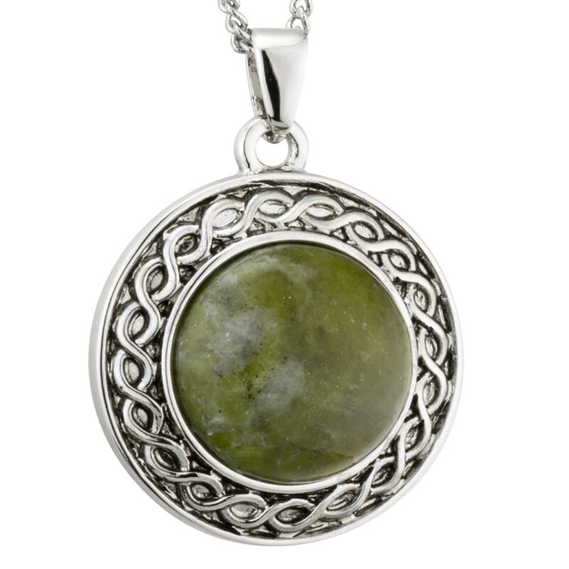 Rhodium Plated Connemara Marble Celtic Design Style Oval Pendant