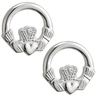 Hallmarked Sterling Silver Small Claddagh Designed Stud Earrings