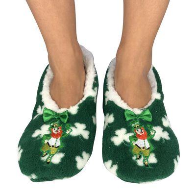 Murphy The Leprechaun Fleece Lined Slippers With White Shamrock Design