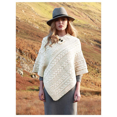 Ladies Poncho Natural