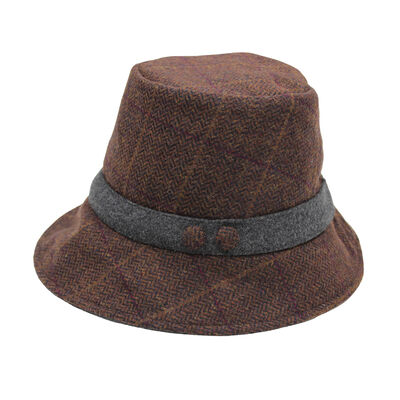Ladies Heritage Traditions Tweed Cloche Hat, Colour Plum