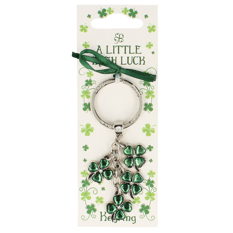 Silver Metal Keychain With 4 Leaf Clover Charms With Green Cubic Zironcia Stone