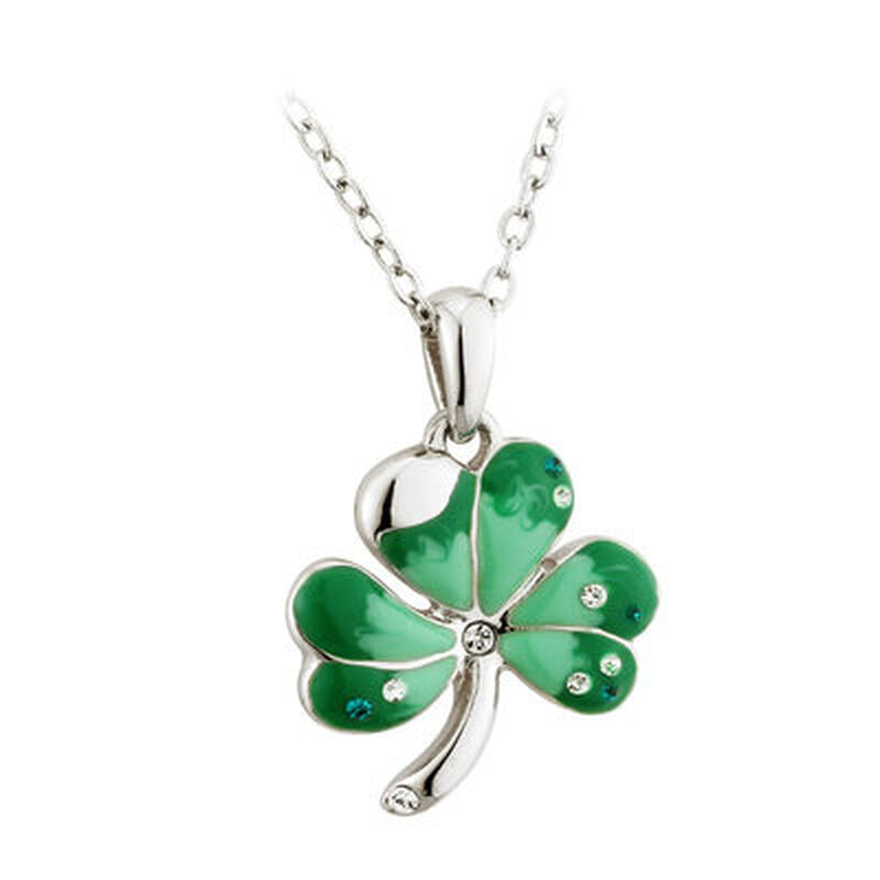 Rhodium Plated Shamrock Pendant With Green Enamel And Crystals