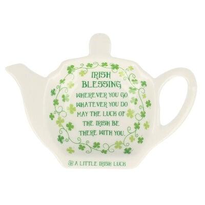 Tea Bag Holder  Clover Irish Blessing