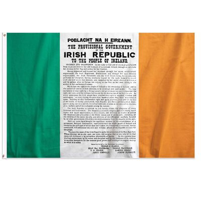 Ireland Tri Colour Flag With The Print Of The Easter Proclamation