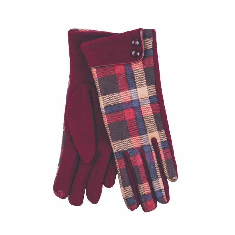 Tartan Traditions Ladies Gloves With Two Buttons  Cranberry Colour