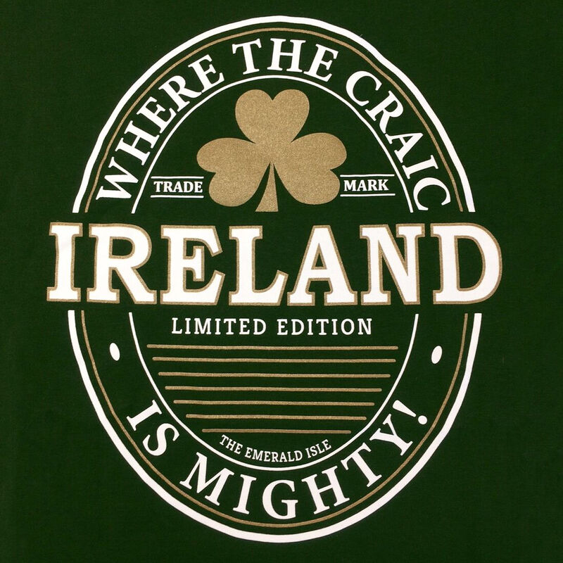 T-Shirt With Ireland Craic Is Mighty Print  Bottle Green Colour