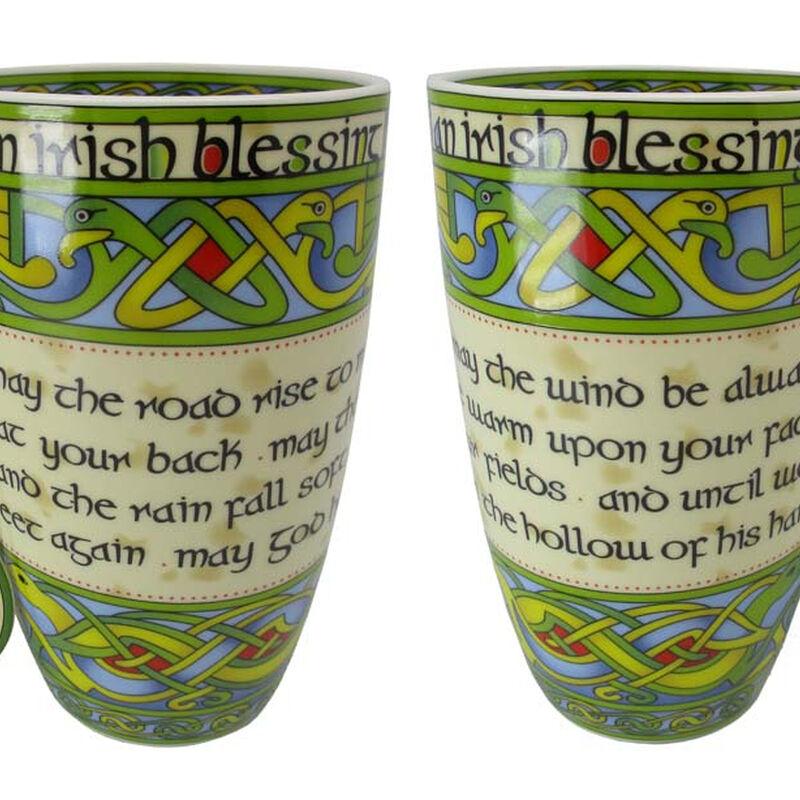 Irish Weave Bone China Mug Collection With Irish Blessing Print