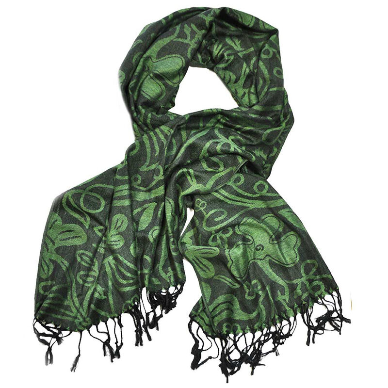 Green And Black Shamrock Pashmina Scarf
