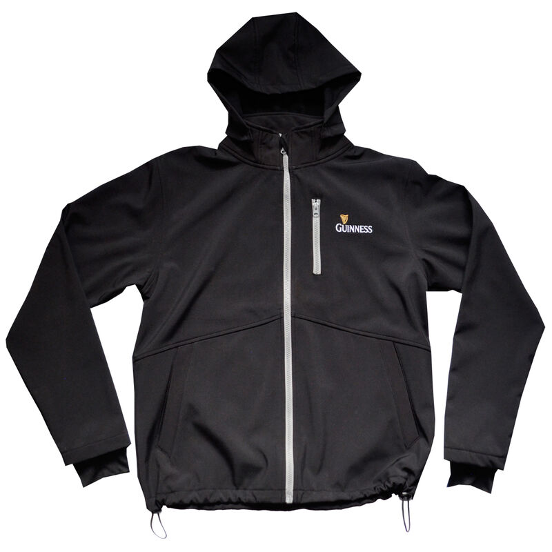 Black Guinness Soft Shell Jacket With Harp Design