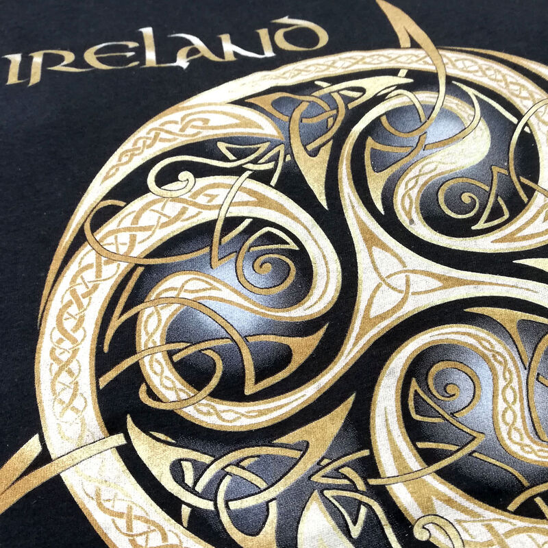 Navy Round Neck T-shirt With Celtic Spiral Design With Ireland Text