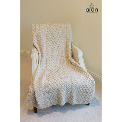100% Wool Blanket With Honeycomb Knitted Design  Oatmeal Colour
