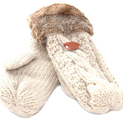 Knit Style Beige Mitten Gloves With Faux Fur Detail