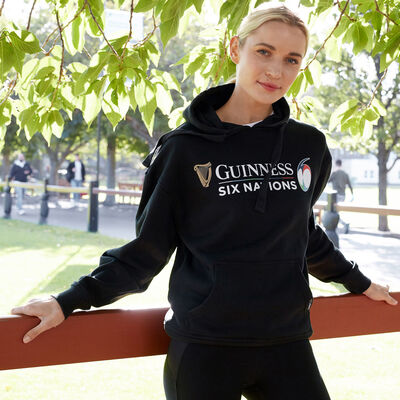 Guinness Official Merchandise Six Nations Hoodie, Black Colour
