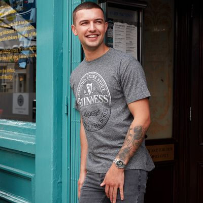 Black Official Guinness Stamp Round Neck T-Shirt  Grey Colour