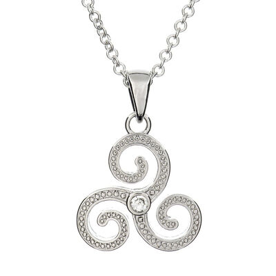 Silver Plated Carrick Silverware Large Triskell with Cubic Zirconia Stone Pendant
