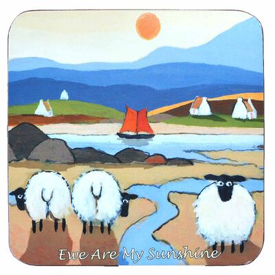 "Irish Coaster With Three Sheep Under The Sun With Text ""Ewe Are My Sunshine"""