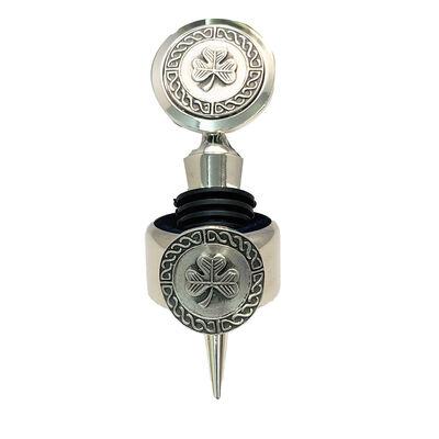 Mullingar Pewter Wine Stopper & Ring With Embossed Shamrock Design