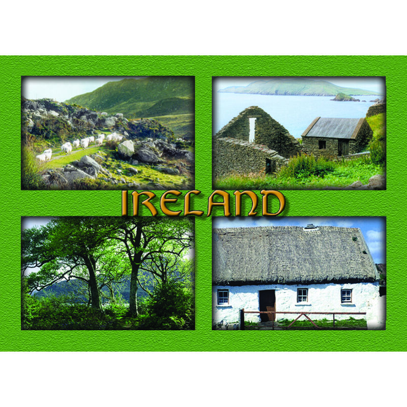 Laminated Rectangle Magnet - Green Images Of Ireland Print