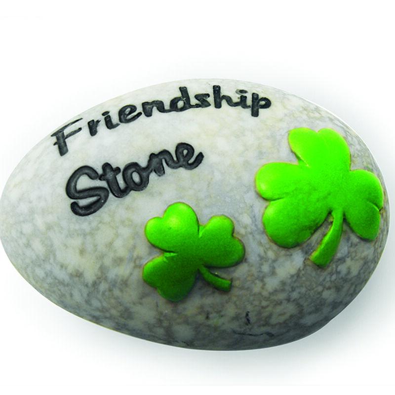 Round Irish Stone With Black Friendship Text And Green Shamrock Design