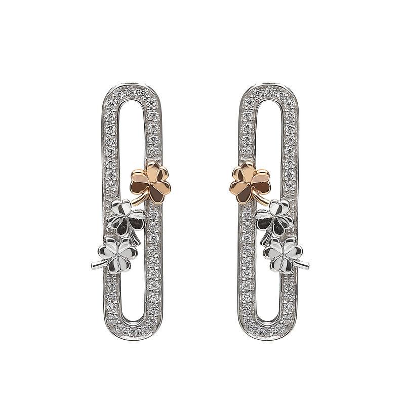 Hallmarked Sterling Silver Shamrock Bar Designed Stud Earrings