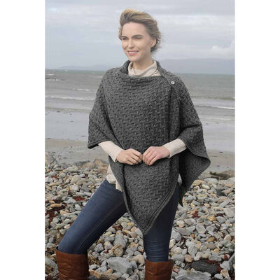 Aran Super Soft Merino Buttoned 3-Ways-to-Wear Cape  Charcoal Colour
