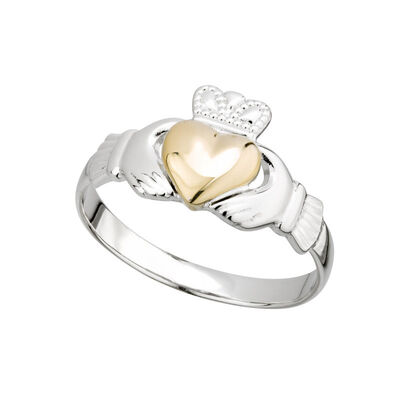 Hallmarked Sterling Silver Gold Heart Claddagh Ring
