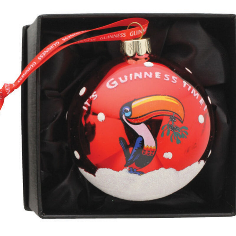 Plastic Christmas Bauble With Guinness Toucan Design In Red Colour