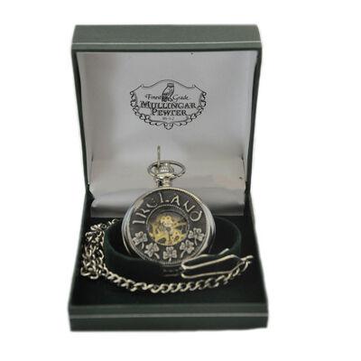Mullingar Pewter-Taschenuhr ohne Deckel an der Vorderseite und Kleeblatt- und Ireland-Design