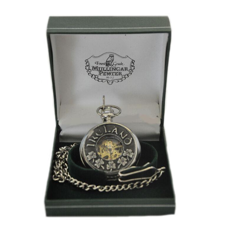 Mullingar Pewter Open Face Pocket Watch With Shamrock and Ireland Design