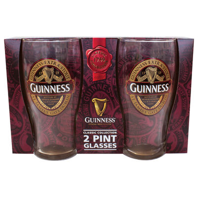 Guinness 2 Pack Of Pint Glasses With Guinness Classic Collection Label Design