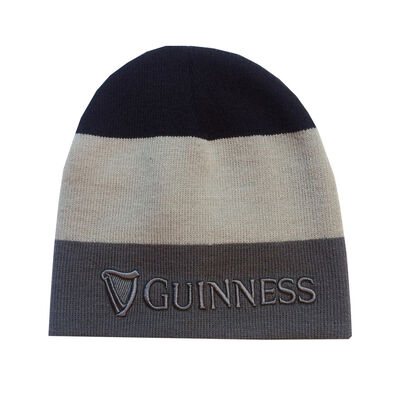 Striped Guinness 3D Embossed Knitted Beanie Hat, Black, Grey & White Colour