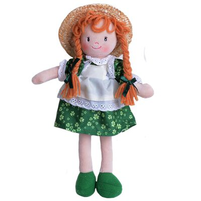 Grainne The Irish Rag Doll In A Dress And Apron With Straw Hat