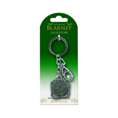 Authentic Blarney Stone Keychain Charm With Good Luck Irish Coin