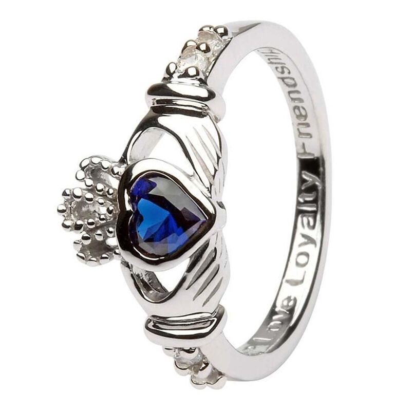Hallmarked Sterling Silver Claddagh September Birthstone Ring