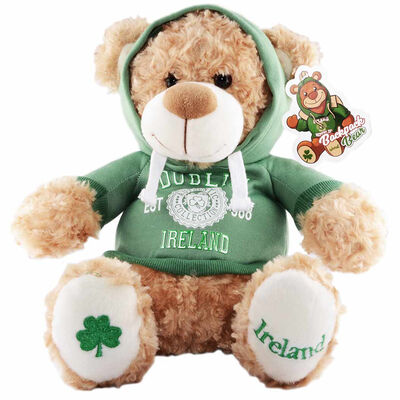 Cream 30cm Teddy Bear Backpack With Dublin Ireland Est 988 With Hooded Top