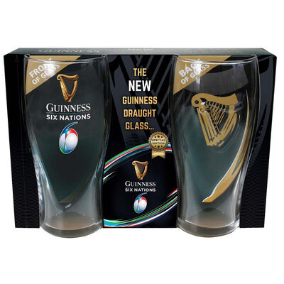 Guinness Official Merchandise Six Nations Logo Two-Pack Pint Glass Set With Embossed Gold Harp