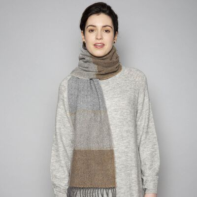 Foxford Classic Woollen Scarf With Rolled Fringe  Grey/Camel Colour