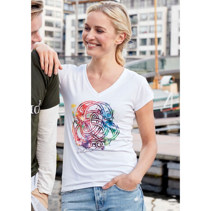 White Round Neck Ladies T-Shirt With A Coloured Celtic Knot Design