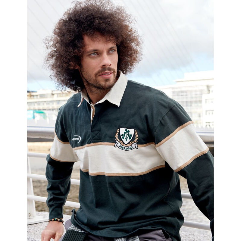 Ireland Striped Long Sleeve Rugby Shirt  Bottle And Natural Colour